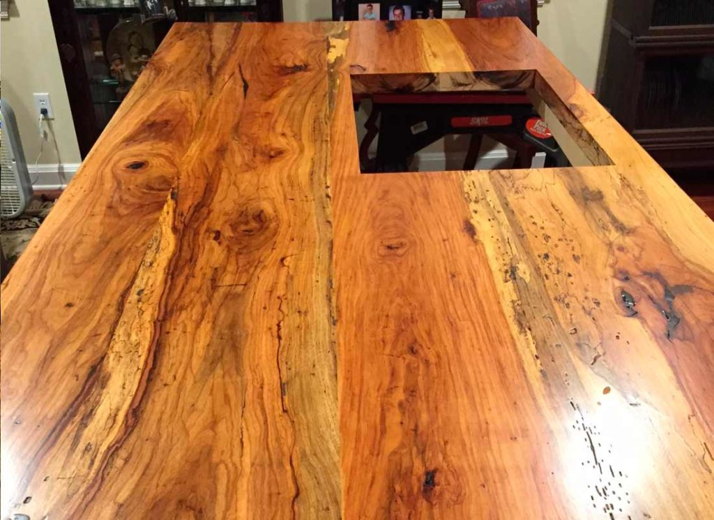 Gallery of Custom Wood Countertops Island Top Texas Pecan Wood 05