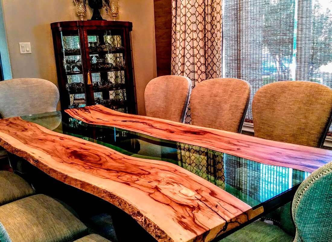 "Custom ""River Style"" table Texas Pecan Wood"