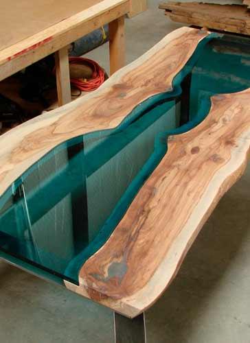 Custom River Table in Shop Texas Pecan Wood