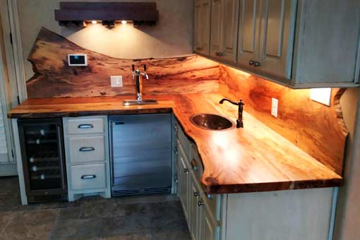 Gallery of Custom Wood Countertops Island Top Texas Pecan Wood 09
