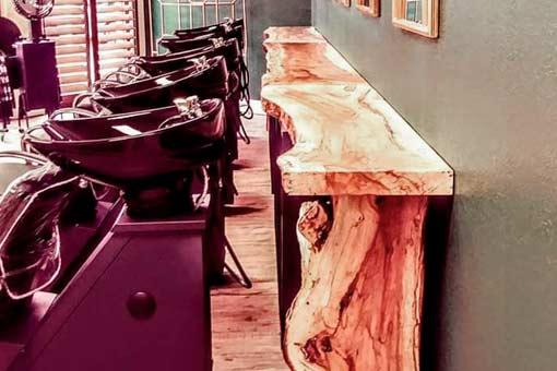 Custom Countertop Hair Salon Texas Pecan Wood