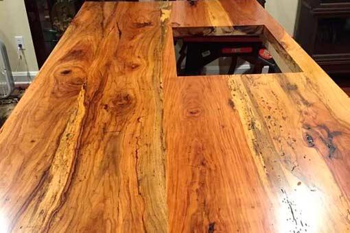 Gallery of Custom Wood Countertops Island Top Texas Pecan Wood 05