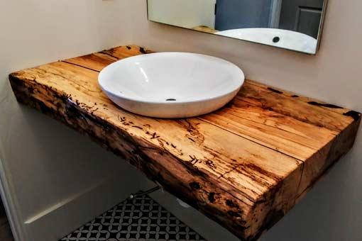 Custom Bathroom Counter Texas Pecan Wood