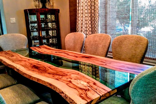 "Custom ""River Style"" table Texas Pecan Wood"