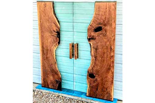 Walnut Slab and Glass Door Texas Pecan Wood