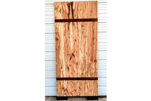 Solid Slab Spalted Pecan Door with Steel Straps Texas Pecan Wood